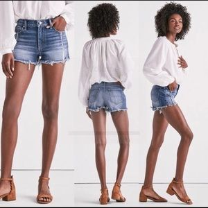 Lucky Brand High Rise Shortie Jean Shorts Stretch